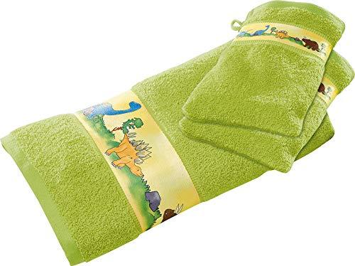 Erwin Müller Kinder-Walk-Frottier-Set 3-TLG mit Dino-Motiv grün 1x Handtuch, 2X Waschhandschuhe - kuschelweich, atmungsaktiv, besonders schnell trocknend und saugstark