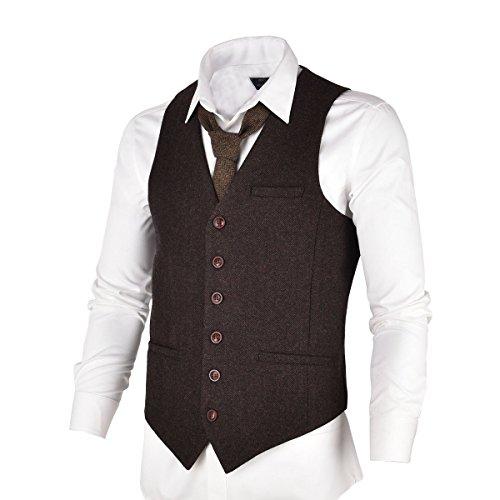 VOBOOM Herren-Tweed-Anzug-Weste, schmaler Schnitt, Fischgrätenmuster, aus qualitativ hochwertiger Wollmischung. - Braun - L