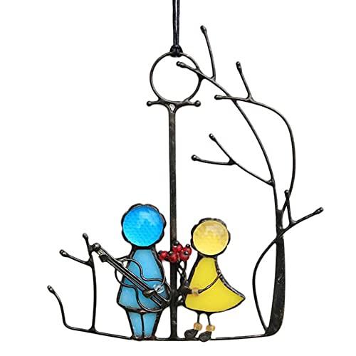 Kunst Fenster Engel Paar Liebesbehänge, Winkel Vorhänge Garten Suncatcher Epoxy Paar Anhänger doppelseitig, Wohnkultur Geschenk Metallplatte Outdoor Wandkunst Festival Geschenke Miniaturen Dekor