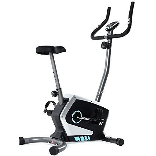 ISE Bicicletas Estáticas Magnética para Ejercicio, 8 Niveles de Resistencia,Volante de Inercia,Sensor de Pulso,Sillín Ajustable, Silencio & Compacto para Casa/Oficina, Máx.120kg,SY-8801