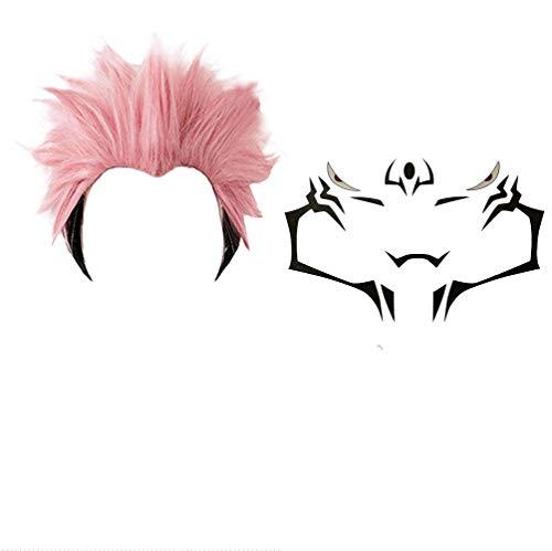 GZIRUE Pink Black Short Hair Party Halloween Yuji Itadori Ryomen Sukuna Wig Cosplay Anime Costume Men with Temporary Tattoos Sticker Props Accessories