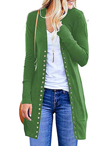Halife Women Cardigan Long Sleeve Button Down V Neck Cute Sweater Cardigans 2XL Green