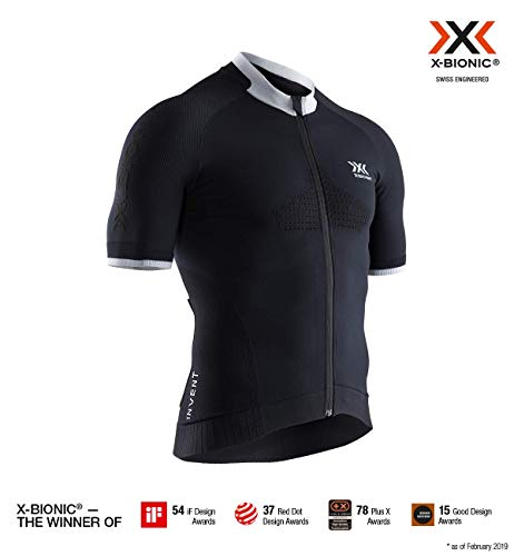 X-Bionic Herren Invent Bike Race Zip Shirt Short Sleeve Men, Opal Black/Arctic White, XXL