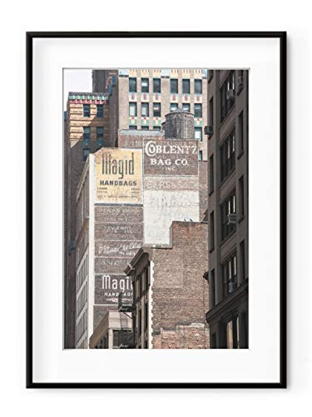 Manhattan Bricks Walls Aluminium Frame Black Satin Full Format, Multicolored, 30x40 rntaxzizhp068964