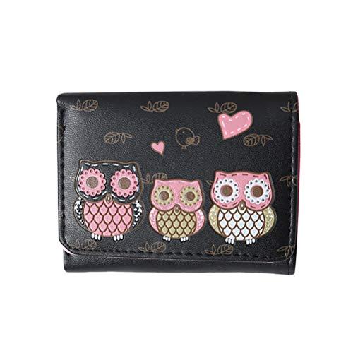 Frauen Geldbörsen Weibliche Eule Kupplung Mini Brieftasche Tasche Kurze Geldbörse Druck Cartoon Eule Hasp Geldbörse Mädchen Damen Geldbörse Kartenhalter (Schwarz)