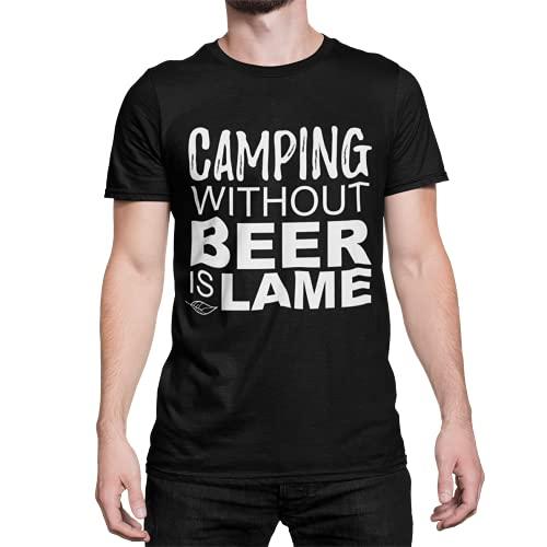 Camping ohne Bier T-Shirt Herren Camper Kurzarm Rundhals Oberteil für Männer Drink Beer Fairtrade Biobaumwolle Regular Fit Schwarz Gr. S-XXXXXL (Schwarz, XXL)