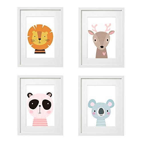 Kinderzimmer Bilder Babyzimmer Poster DIN A4 | Mädchen Junge | Baby Tiere | farbig | Babyzimmer (4er V1)