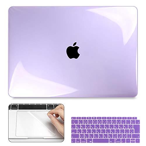 CISOO MacBook Air 13 ケース 2020 新型 A2179 A2337 M1 カバー おしゃれ パープル 薄型 13インチ シェルカバー 日本語 JIS配列 キーボードカバー mac book air 13 トラックパッド 保護フィルム 防塵プラグ付き