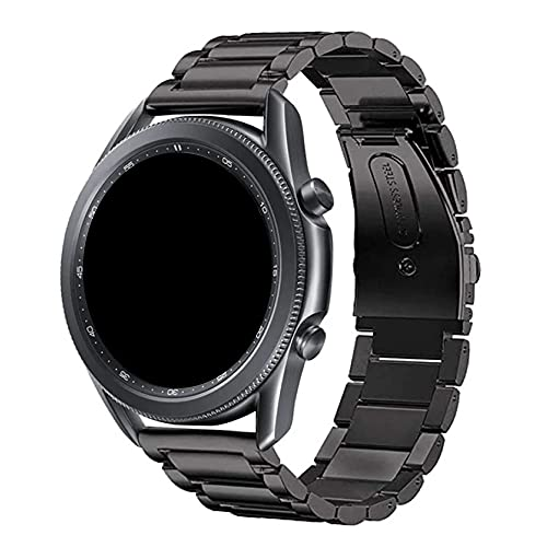 Pulseira 22mm Metal 3 Elos compatível com Samsung Galaxy Watch 3 45mm - Galaxy Watch 46mm - Gear S3 Frontier - Amazfit GTR 47mm - Marca LTIMPORTS (Preto)
