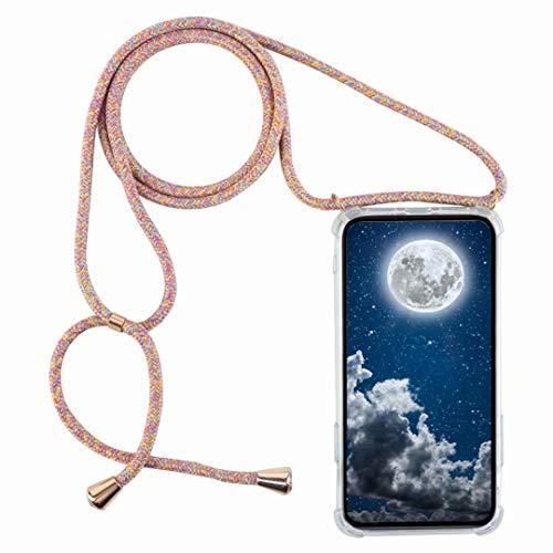 Compatible avec Motorola Moto E4 Coque de Protection en Transparent TPU Housse Etui pour Chaîne Cordon Lanière Cover Necklace Bandouilière Stylée