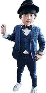 子供タキシード キッズ服 男の子ベビーブルースーツ衣装 ベスト、ズボン、ジャケット 3点セット 90CM~160CM