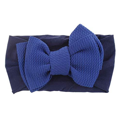 Fulltime_ Bébé Bandeau, Enfant Bowknot Bandeau en Nylon Stretch Chapeaux Solide Couleur Turban chapeaux (Bleu foncé)