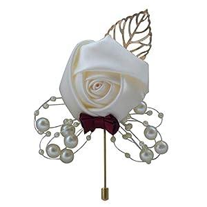 KINJOHI Broche de Boda Pin Seda Rosa Boutonniere Cinta de Raso Ramillete de Novia Pin de Solapa de la Boda Traje de…