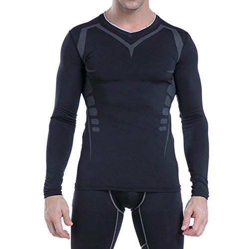 AMZSPORT Herren Kompressions-Shirt langärmlig Funktionsshirts Baselayer Langarm Schwarz S - 4