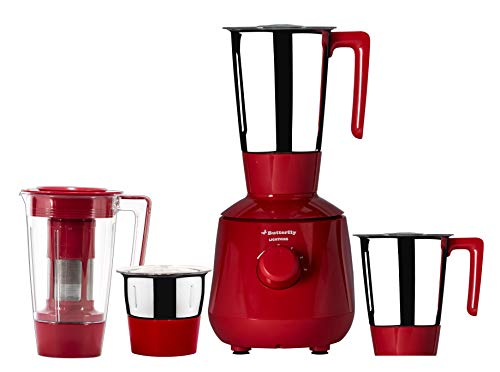 Butterfly Lightning 750-Watt Mixer Grinder with 4 Jars (Red)