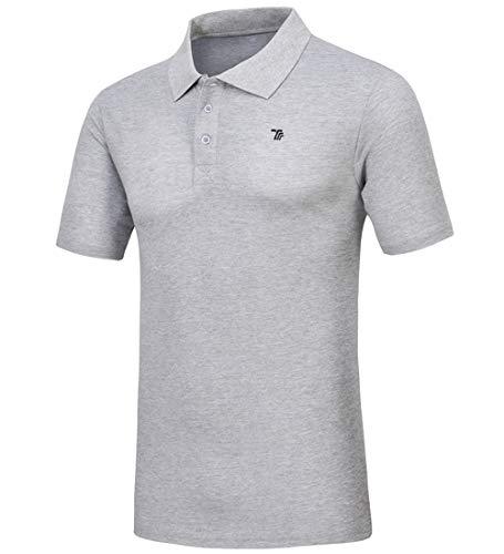 donhobo Polo básico de manga corta para hombre, de secado rápido, para golf gris claro M