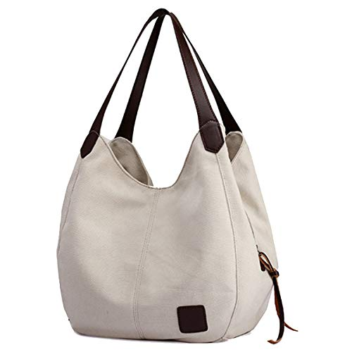 "【Superior Material】: The Canvas Tote Bag is made of high quality 16 oz canvas, damask lining, durable polyester and PU leather zips, comfortable, breathable and lightweight, decreasing pressure of shoulder. 【Dimensions】: 11.02"" (L) x 5.12"" (W) x 11.8..."