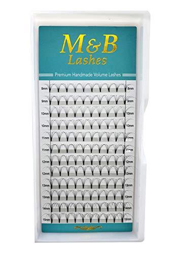Eyelash Extensions, 6D Eyelashes, Short Stem Eyelash Fans, Pre-fanned Lashes, 6D Premade Russian Volume Lashes for professional eyelash extensions (C curl/thickness 0.07 mm/length 11 mm)