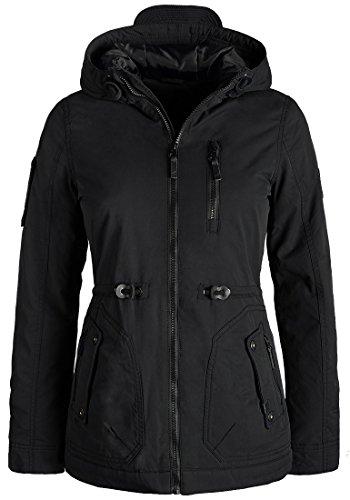 Blend SHE Colette Damen Übergangsparka Parka Übergangsjacke Lange Jacke mit Kapuze, Größe:XS, Farbe:Black (70155)
