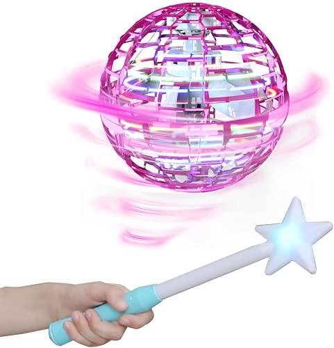FLYNOVA PRO Flying Spinner Stressabbau Spielzeug Handbetriebene Drohne USB-Aufladung RGB LED-Lichter Spiele Lernspielzeug Ideal für Kinder, Erwachsene,Gruppen,Indoor, Im Freien Interaktive (Pink)