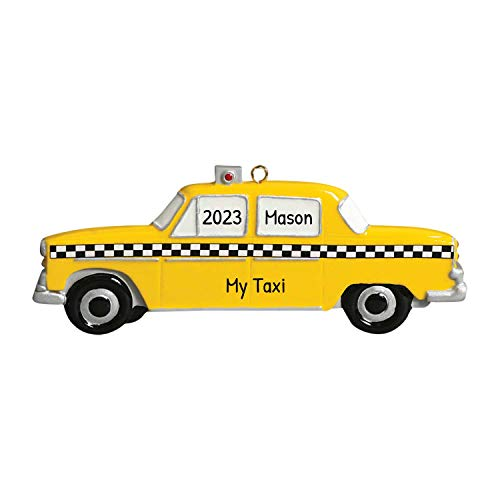 Personalized Taxi Christmas Tree Ornament 2021 - Yellow Car Checkers Driver Ride Taxicab Vehicle Meter New York City Street Holiday Travel Tourist Gifts Souvenirs NY Year - Free Customization