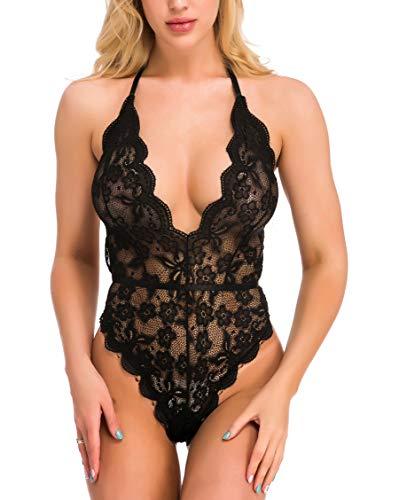 Sexoo Mujer Sexy Body Conjunto de Mono Lencería de Encaje Ropa Interior Ajustado Elástico Bodysuit Transparente para Fiesta