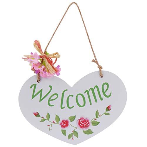 EXCEART Cartel de Bienvenida para Casa de Campo Colgadores de Puerta de Madera Rústica Decoración del Porche Delantero Letrero Colgante para Interiores Y Exteriores