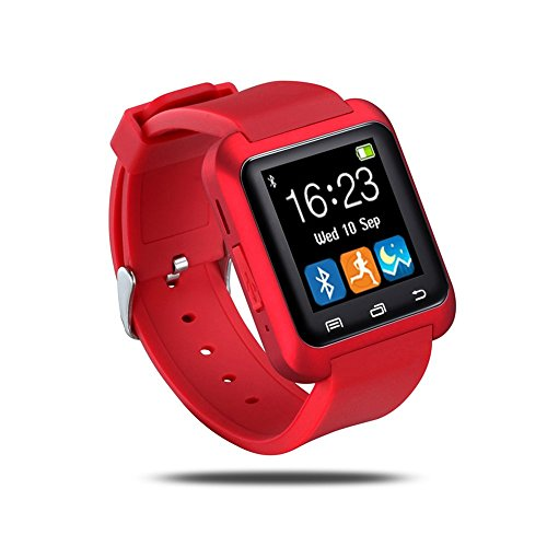 porxintor U80 Bluetooth Wrist Smart Watch Phone Mate Handsfree Call for Smartphones Outdoor Sports Pedometer for Android Apple Phones (Red)