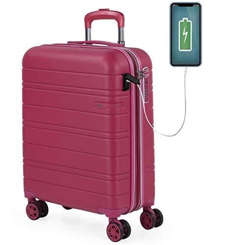 JASLEN - Maleta Cabina Avion Pequeña con 4 Ruedas 55x40x20 Extensible Hombre Mujer Rígida [Conector para Carga USB] Trolley Equipaje de Mano Candado con Seguridad TSA 171250, Color Fresa