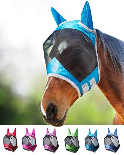 Harrison Howard CareMaster PRO Luminous Maschera Anti-Mosche per Cavallo UV Protezione con para Orecchie Cielo Blu (L; Full Size)