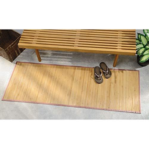 "iDesign Formbu Bamboo Floor Mat Non-Skid, Water-Resistant Runner Rug for Bathroom, Kitchen, Entryway, Hallway, Office, Mudroom, Vanity , 72"" x 24"", Natural Tan"