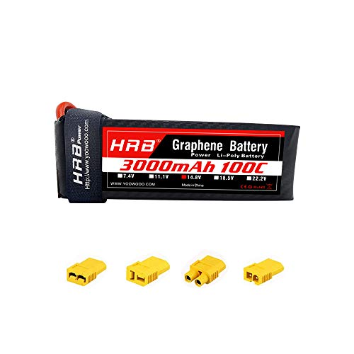 HRB 4S Graphene Battery 14.8V 3000mAh 100C Graphene Lipo Batería con XT60 Deans T Tr EC3 Adaptador Enchufe para Helicópteros RC Quadcopter Avión Coche Camión Barco Dron y FPV