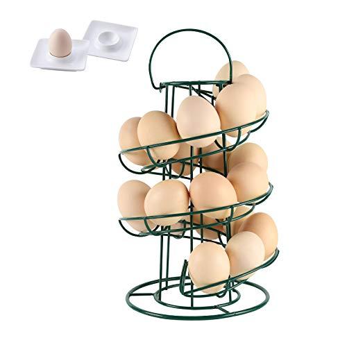Upgrade Stable Base Metal Egg Skelter Dispenser Rack with 2 Porcelain Egg Cup Holders, Spiral Design Double Base Storage Display Holder Basket for Countertop Kitchen, Green
