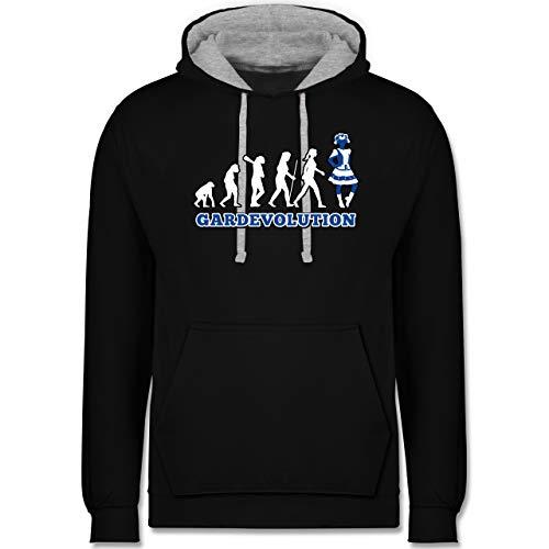 Shirtracer Karneval & Fasching - Gardevolution Garde Evolution Weiß Blau - XXL - Schwarz/Grau meliert - s-Gard - JH003 - Hoodie zweifarbig und Kapuzenpullover für Herren und Damen