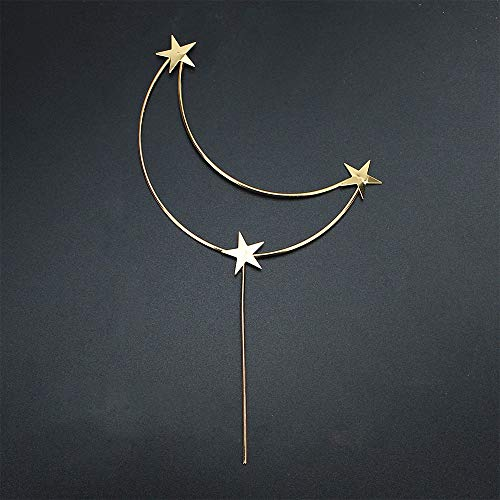 Star Cake Topper Gold Moon and Stars Cupcake Toppers Decorations for Girl¡¯s Happy Birthday Wedding Valentine's Day Baby Shower Baking Party Supplies ( Big Stars )