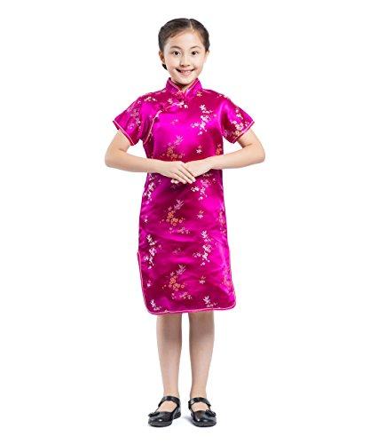 AKAAYUKO Enfants Filles Cheongsam Plum Fleur Bambou Chinois Qipao Mini Dress - Rose Rouge Taille 12 (Fit Hauteur 120-130cm)