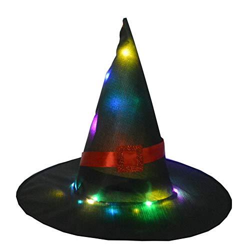 MeterMall CE Halloween gloeiende Heks Hoed Verlichting Hoofddeksels voor Outdoor Cosplay Props Zwart
