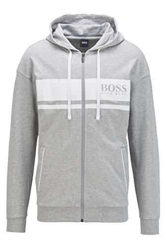 BOSS Herren Authentic Jacket H Loungewear-Jacke aus French Terry mit Kapuze und Kontrast-Streifen