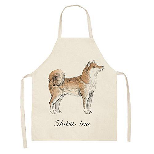 LIUKLAI Delantal de cocina pug pet dog print sin mangas algodón lino delantal para padres e hijos hombres y mujeres señoras herramientas de limpieza del hogar-2_47x38cm para niños