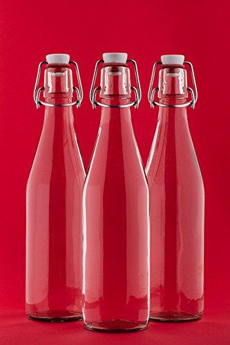 Slkfactory, lege glazen flessen met beugelsluiting, 500 ml, sapflessen 0,5 liter, 50 cl, likeurfles, beugelfles, jeneverfles, azijn-olie, fles van slkfactory, 6 stuks