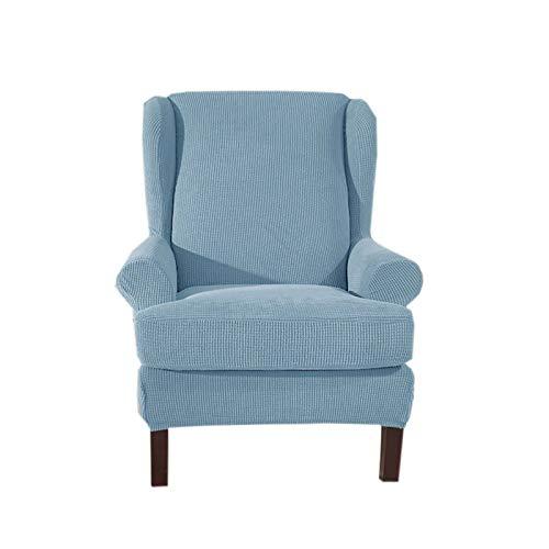 ZHFEL 2-Stück Stretch Sesselbezug,Ohrensessel Überzug Bezug Abnehmbare waschbar Langlebig Einfarbig Sesselschoner Husse für fernsehsessel Ohrensessel-hellblau