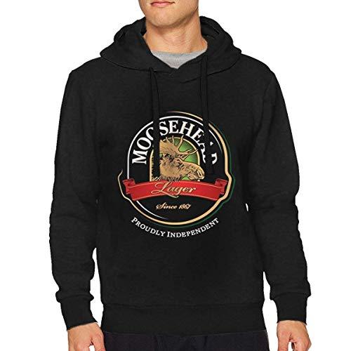 lifangtaoT Herren Hoodie Kapuzenpullover, Men's Moosehead Beer Casual Long Sleeve Sweatshirt Hoodie Pullover Black