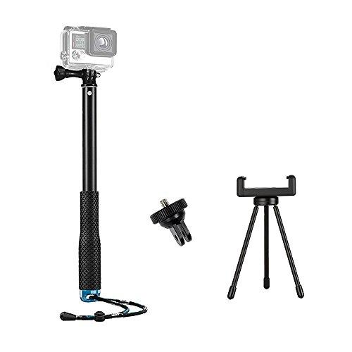 TEKCAM Action-Kamera Selfie-Stick Flexibel 109.2cm Handheld Einbeinstativ mit Stativ Ständer Phone Clip Halter kompatibel mit GoPro 9 8 7/Akaso/Dragon Touch/LeadEdge/VEMONT/COOAU Smartphones