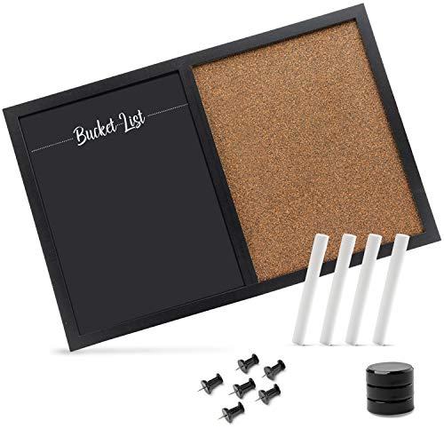 Evolico ® Memoboard mit Kork-Pinnwand und magnetischer Kreidetafel (60x40 cm) – Kombitafel perfekt für Groß und Klein – inkl. Zubehör
