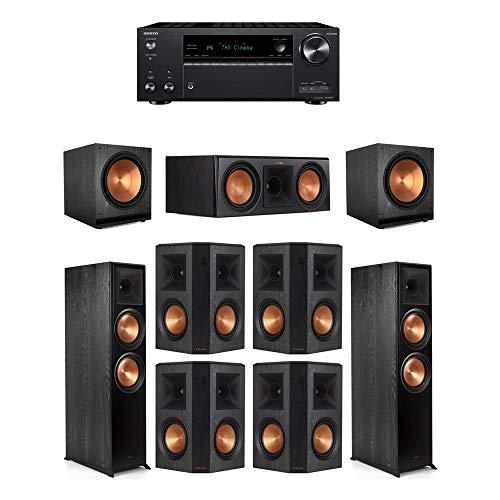 Best Buy! Klipsch7.2 Ebony System - 2 RP-8000F,1 RP-600C,4 RP-502S,2 SPL-150,1 TX-NR797 Receiver