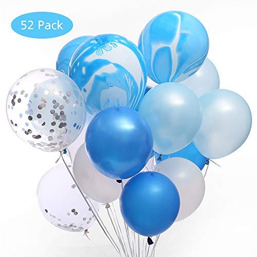 EFFE 12 Pulgadas Confeti Globos de látex,Surtido Globos de látex Azules y Blancos para Bodas Decoración de la Fiesta de cumpleaños, Duchas Nupciales y para bebés, Telón de Fondo, Arco de Globos, Azul