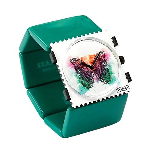S.T.A.M.P.S. Stamps Uhr KOMPLETT - Zifferblatt Diamond Butterfly with Crystals from Swarovski ® mit Belta Ocean Green