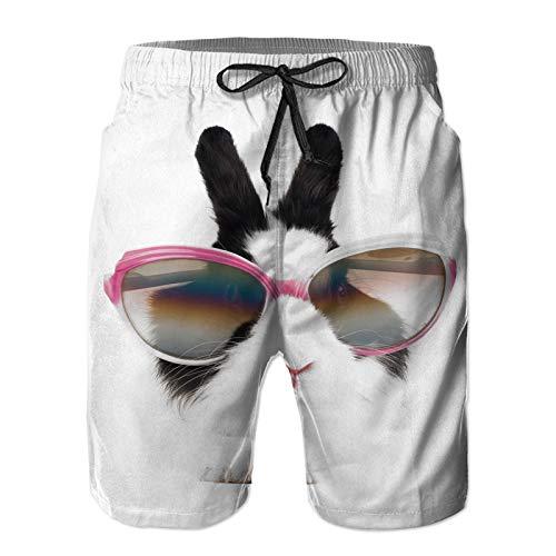 YZBEDSET Bañador De para Hombre Pantalones Playa Shorts, Conejito con Gafas de Sol Secado Rápido Ligero Baño Cortos L