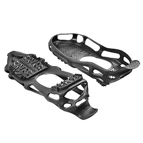 Crampons Tacos de nieve para botas y zapatos para mujer, hombres y niños, 19 puntas de acero inoxidable de protección segura, crampones para nieve, para senderismo, pesca, caminata y escalada