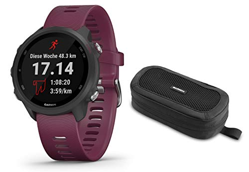 Garmin Forerunner 245 - GPS Laufuhr/Smartwatch - dunkelrot - inkl. Tasche